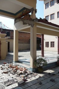 Main entrance damage at IBA