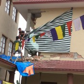 damage to the library building